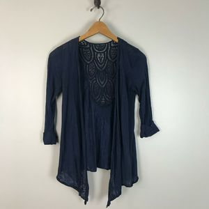 Maurices Navy Crochet Back Open Front Cardigan